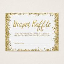 White Gold Glitter Diaper Raffle Ticket