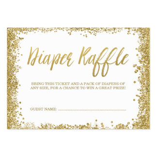 White Gold Glitter Diaper Raffle Ticket Large Business Card