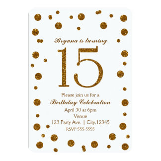 White & Gold Glitter Dots Sweet 15 Birthday Party Card