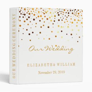 White Gold Glitter Faux Foil Confetti Personalize 3 Ring Binder