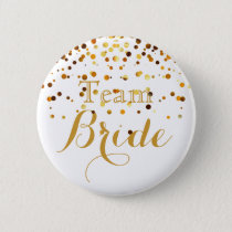 white Gold Glitter Faux Foil Wedding Team Bride Button