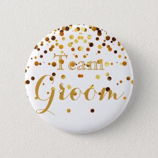 White Gold Glitter Faux Foil Wedding Team Groom Button