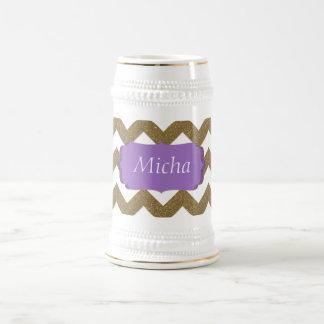 White & Gold Glitter Look Chevron Monogram Beer Stein
