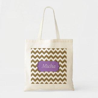 White & Gold Glitter Look Chevron Monogram Tote Bag