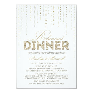 White & Gold Glitter Look Rehearsal Dinner Invite