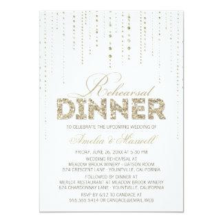 White & Gold Glitter Look Rehearsal Dinner Invite