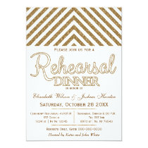 white gold glitter rehearsal dinner invites