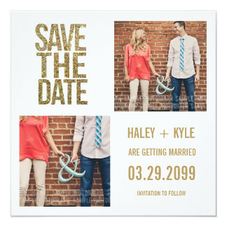 "White & Gold Glitter Save the Date Photo Cards 5.25"" Square Invitation Card"
