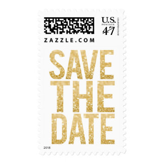 White & Gold Glitter Save the Date Postage Stamp