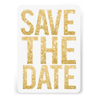 White & Gold Glitter Save the Date Typography Custom Announcement