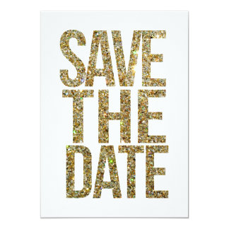 """White & Gold Glitter Save the Date Typography 5"""" X 7"""" Invitation Card"""