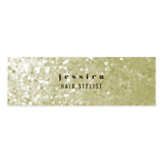 White Gold Glitter Sequin Hair Stylist Skinny Card Business Card Template