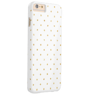 White Gold Glitter Small Polka Dots Pattern Barely There iPhone 6 Plus Case