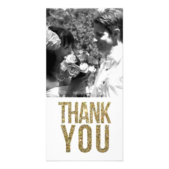 White & Gold Glitter Thank You Photo Cards
