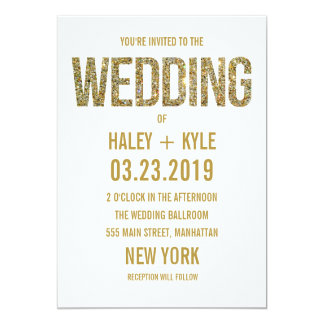 "White & Gold Glitter Typography Wedding Invitation 5"" X 7"" Invitation Card"