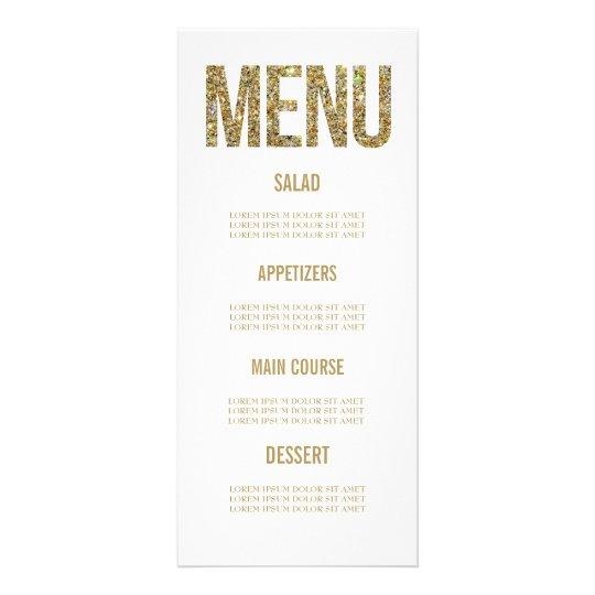 White & Gold Glitter Typography Wedding Menu Cards