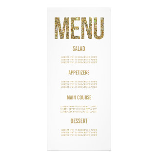 White & Gold Glitter Typography Wedding Menu Cards Rack Card
