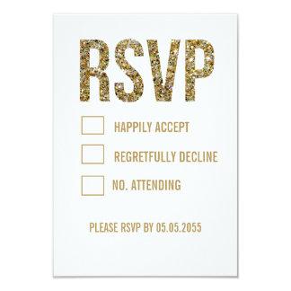 "White & Gold Glitter Typography Wedding RSVP Cards 3.5"" X 5"" Invitation Card"