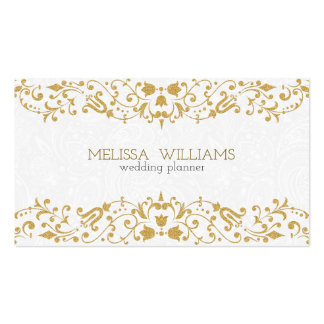 White & Gold Glitter Vintage Floral Swirls Business Card
