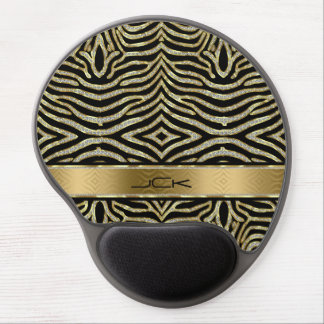 White & Gold Glitter With Black Zebra Stripes Gel Mouse Pad