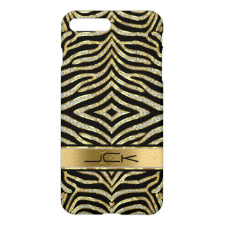 White & Gold Glitter With Black Zebra Stripes iPhone 8 Plus/7 Plus Case