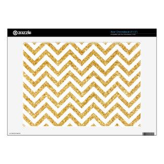 White Gold Glitter Zigzag Stripes Chevron Pattern Decal For Acer Chromebook