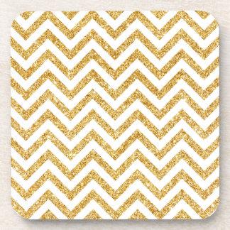 White Gold Glitter Zigzag Stripes Chevron Pattern Drink Coaster