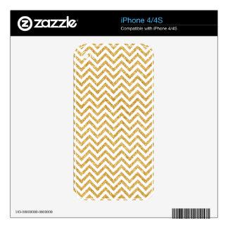 White Gold Glitter Zigzag Stripes Chevron Pattern iPhone 4 Skins