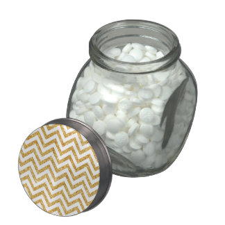 White Gold Glitter Zigzag Stripes Chevron Pattern Jelly Belly Candy Jar