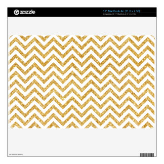 White Gold Glitter Zigzag Stripes Chevron Pattern MacBook Decal