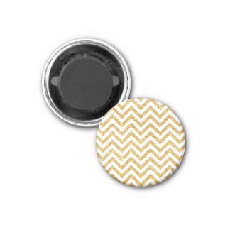 White Gold Glitter Zigzag Stripes Chevron Pattern Magnet