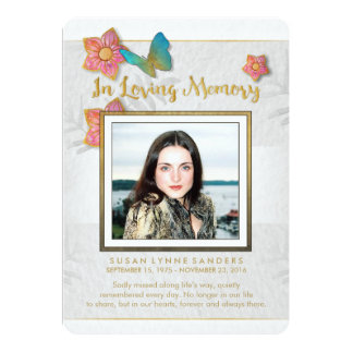 White Gold & Gray Butterfly Memorial Thank You Card