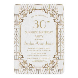 White Gold Great Gatsby Art Deco Birthday Party Invitation