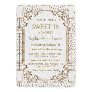 White Gold Great Gatsby Art Deco Sweet 16 Invite