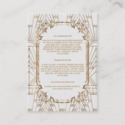 White Gold Great Gatsby Art Deco Wedding Details Enclosure Card