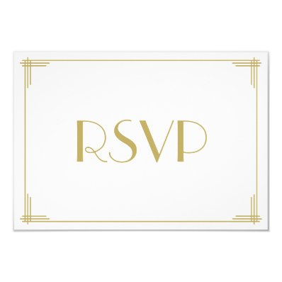 White Gold Great Gatsby Art Deco Wedding RSVP Card