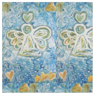 White Gold Guardian Angel Art Fabric Material