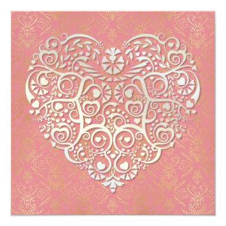 White Gold Heart & Gold Damask Valentine Card