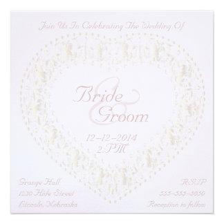 White Gold Heart & Rainbow Wedding Invitation