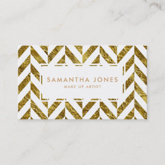 White Gold Herringbone Pattern Make Up Artist Business Card