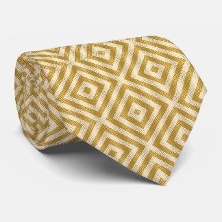 White & Gold Hi-tech Modern Geometric Pattern Neck Tie