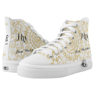 White Gold Lacy Print Personalized Brides Wedding High-Top Sneakers