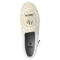 White Gold Lacy Print Personalized Brides Wedding Slip-On Sneakers