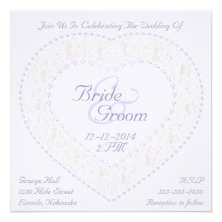 White Gold & Lavender Heart -Wedding Invitation