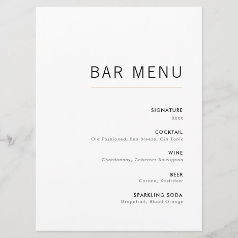 White & Gold Modern Minimalist Wedding Bar Menu