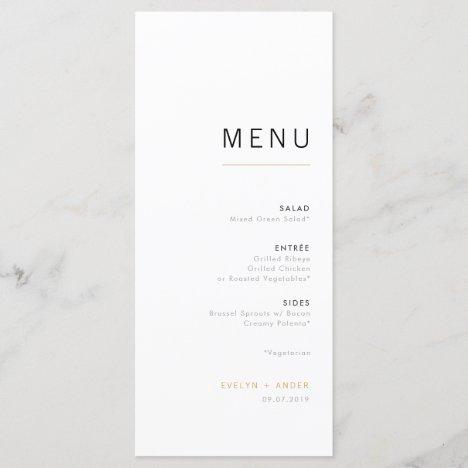 White & Gold Modern Minimalist Wedding Menu