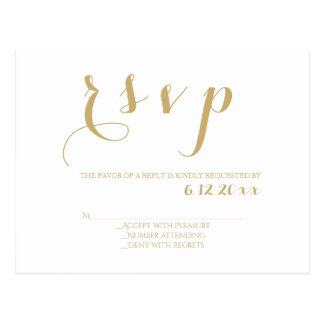 White & gold modern wedding rsvp cards