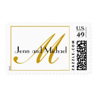 White Gold Monogram M Names Wedding Postage Stamp