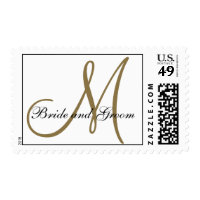 White Gold Monogram Wedding Postage