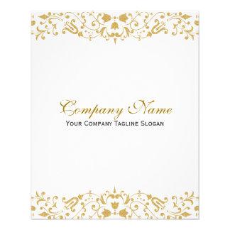 White & Gold Ornate Floral Border Flyer